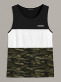 Men Letter Graphic Colorblock Top  (584957) | Seven.Deals, image {num}