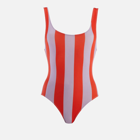 Solid & Striped Women's The Anne-Marie South Beach Swimsuit - Lavender Red Stripe Multi (746325)   Seven.Deals