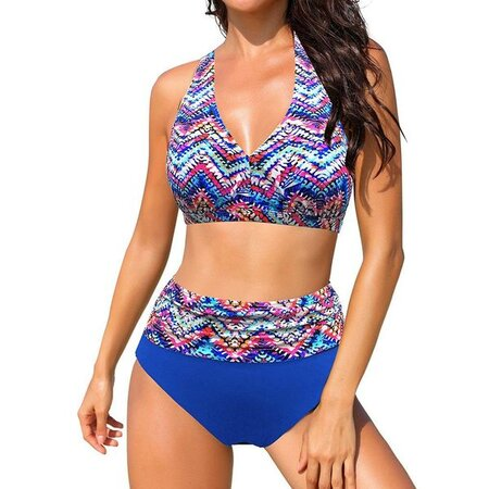 Polyester Halter Color Block With Rim Knotted Bikinis Swimwear (30015563398) | Seven.Deals