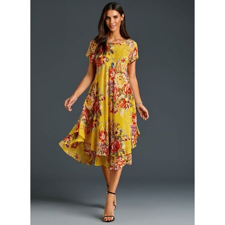 Chinese Casual Floral Ruffles Round Neckline A-line Dress (1955251915) | Seven.Deals
