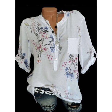 Floral Casual Round Neckline 3/4 Sleeves Blouses (1645384910)   Seven.Deals