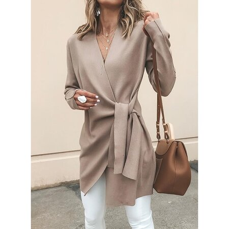Long Sleeve V-neck Coats (1715322590) | Seven.Deals