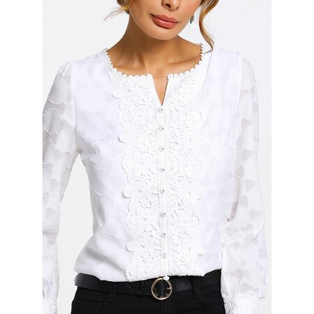 Solid Casual Round Neckline Long Sleeve Blouses (01645221054) | Seven.Deals