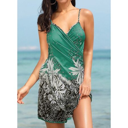 Polyester Halter Floral Cover-Ups Swimwear (30015264410) | Seven.Deals