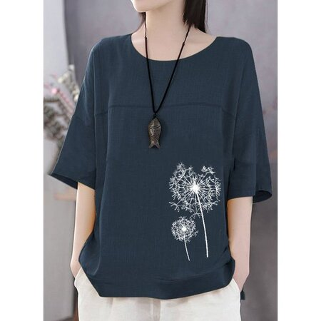 Floral Casual Round Neckline 3/4 Sleeves Blouses (1645574016) | Seven.Deals