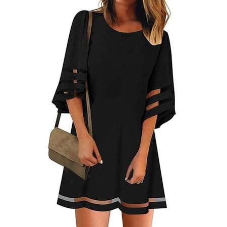 Casual Solid Tunic Round Neckline Shift Dress (1955563783) | Seven.Deals