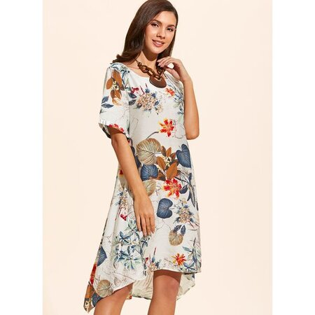 Chinese Casual Floral Tshirt Round Neckline A-line Dress (01955410033) | Seven.Deals
