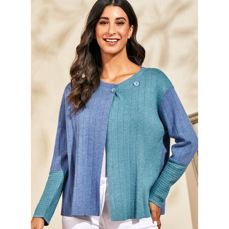 V-Neckline Color Block Casual Loose Regular Buttons Sweaters (1675469100) | Seven.Deals