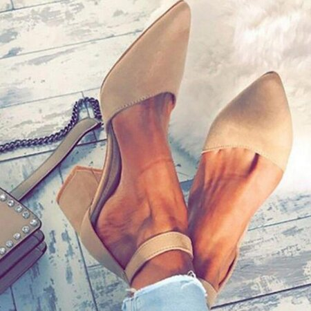 Women's Ankle Strap Pointed Toe Nubuck Chunky Heel Pumps (1625310284) | Seven.Deals